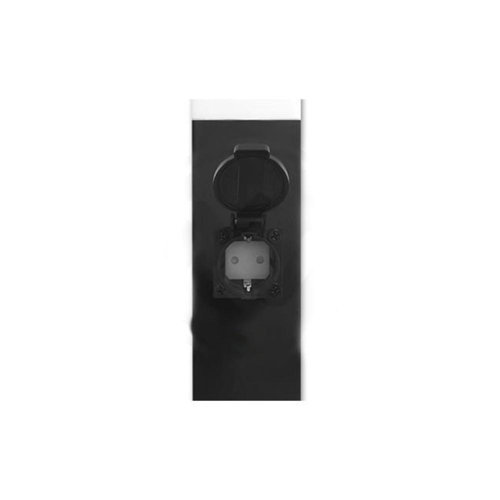 Staande buitenlamp lantaarn met stopcontact 65 centimeter E27 fitting zwart - stopcontact open