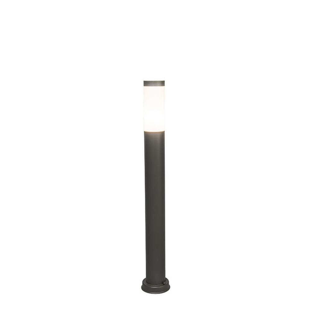 Staande buitenlamp rond lantaarn 65 centimeter E27 fitting - lamp aan