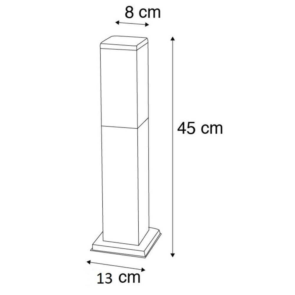 Staande buitenlamp lantaarn 45 centimeter E27 fitting zwart - Afmetingen