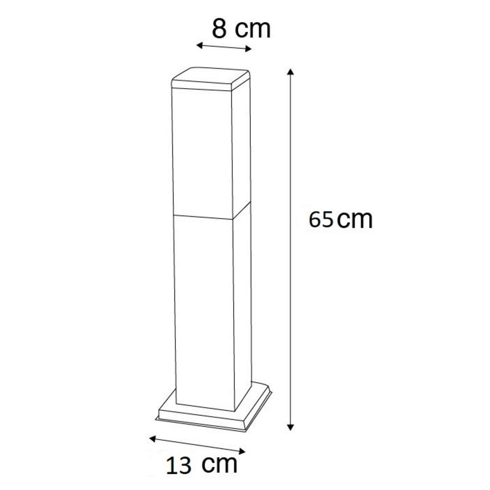 Staande buitenlamp lantaarn 65 centimeter E27 fitting zwart - Afmetingen