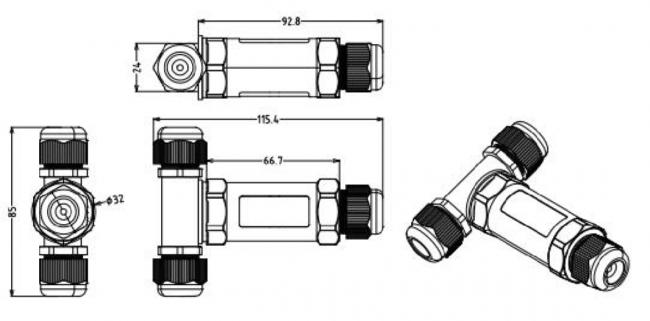 afmetingen t vorm waterdichte connector