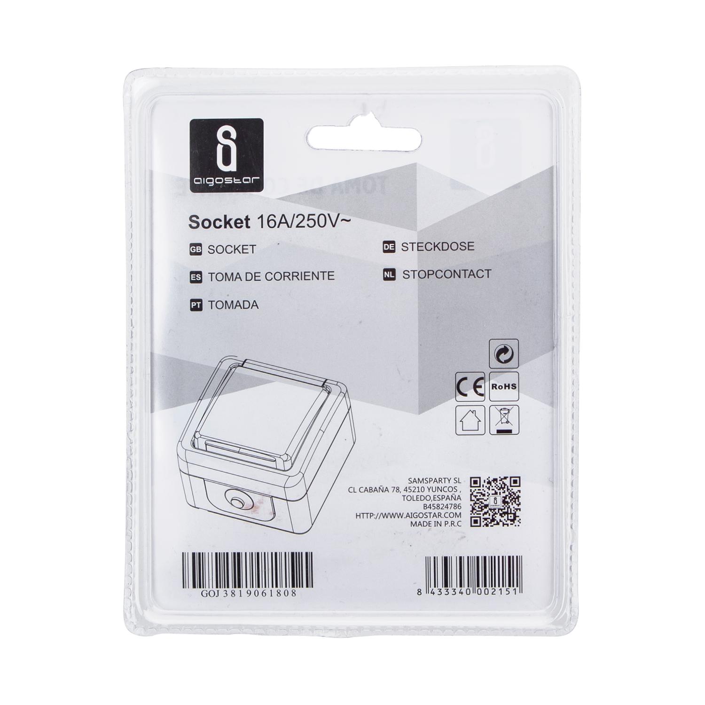 Verpakking enkelvoudig buitenstopcontact - met randaarde - IP44 waterbestendig - achterkant