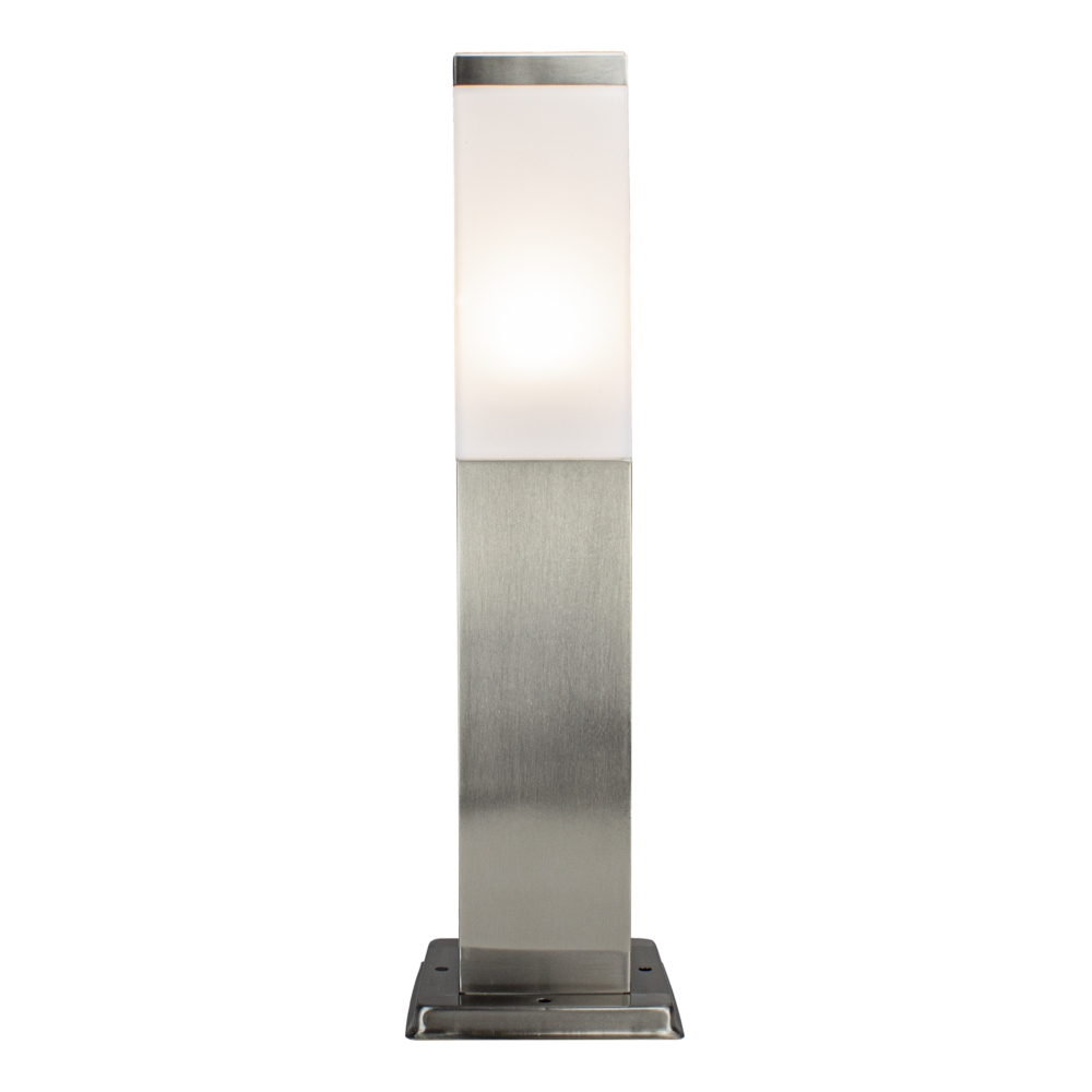 Vierkante Tuinpaal - Tuin lantaarn - staande lamp - zilver - 45cm - E27 fitting