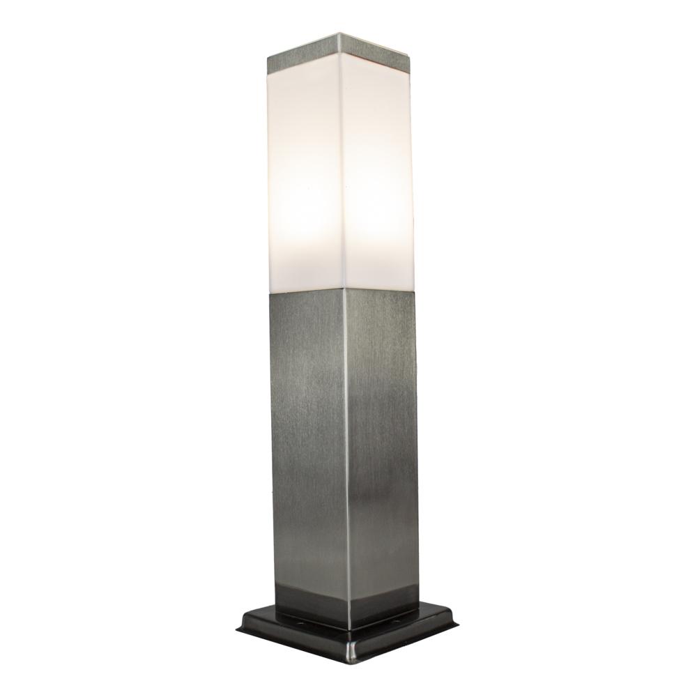 Vierkante Tuinpaal - Tuin lantaarn - staande lamp - zilver - 45cm - E27 fitting - schuinaanzicht