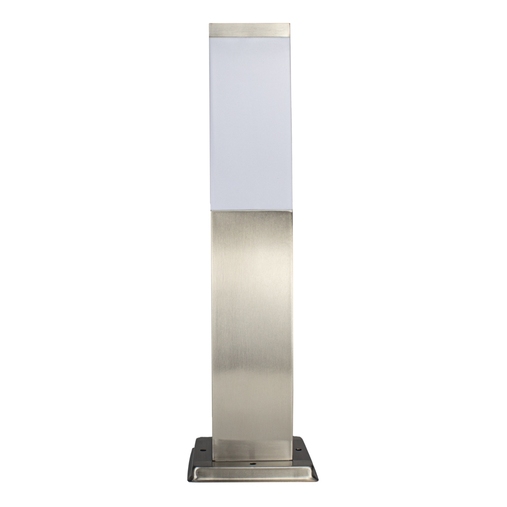 Vierkante Tuinpaal - Tuin lantaarn - staande lamp - zilver - 45cm - E27 fitting - voorkant