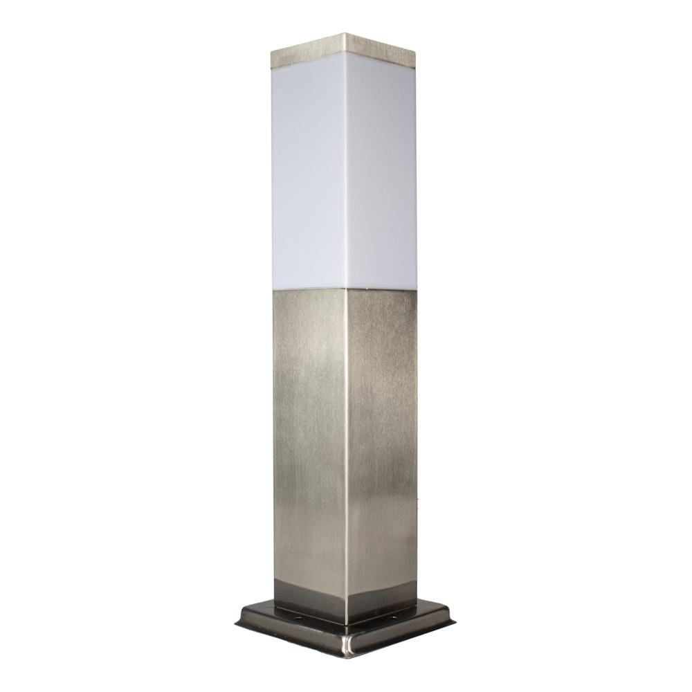 Vierkante Tuinpaal - Tuin lantaarn - staande lamp - zilver - 45cm - E27 fitting - zijkant