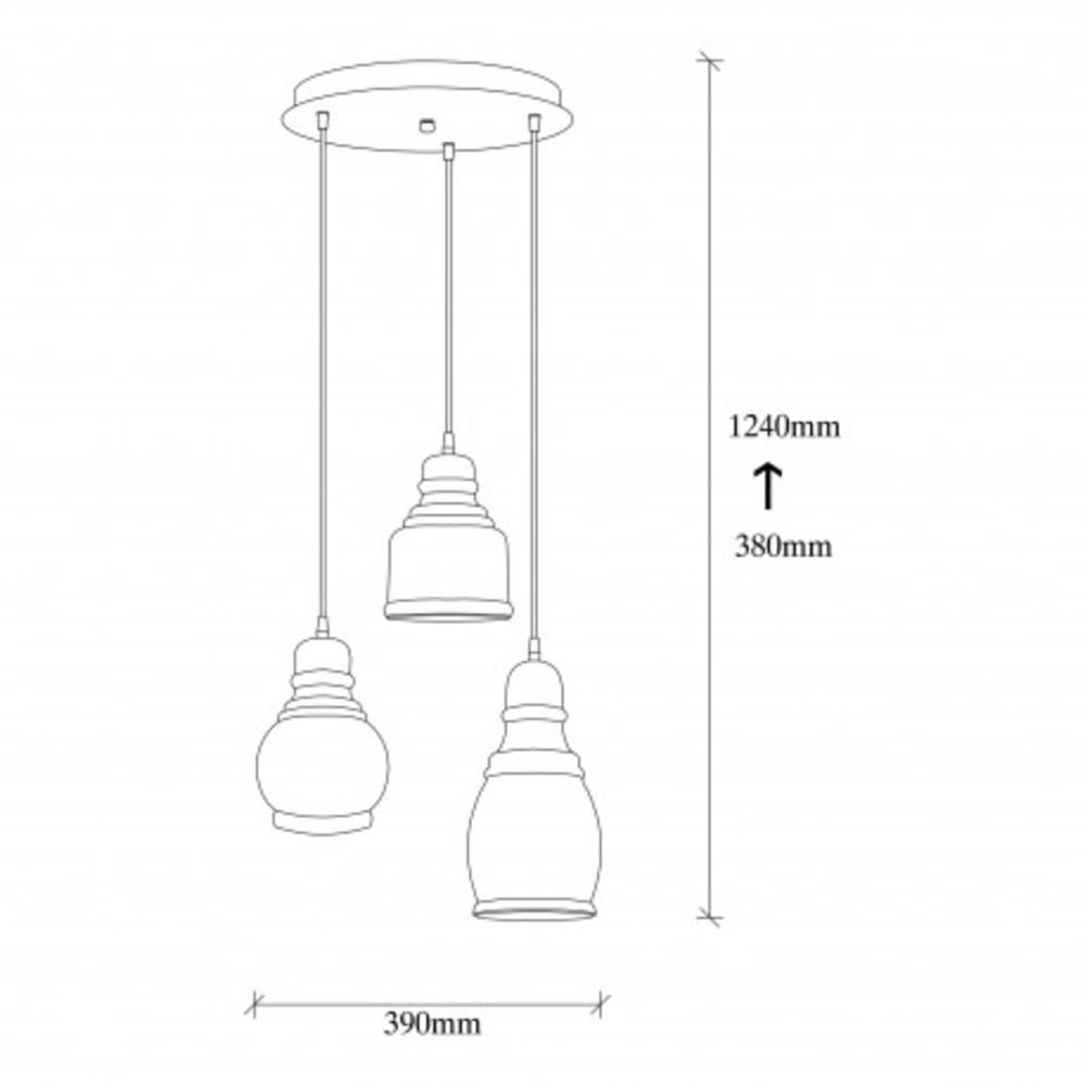 Hanglamp vintage zwart metaal gebrand glas 3 x E27 fitting - afmetingen