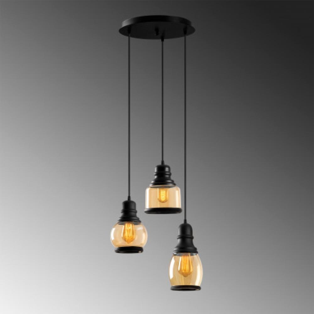 Hanglamp vintage zwart metaal gebrand glas 3 x E27 fitting - grijze achtergrond