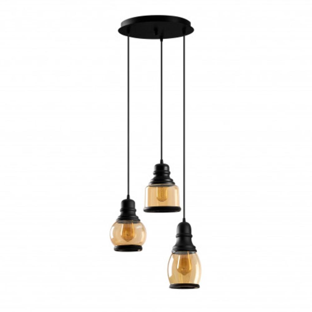 Hanglamp vintage zwart metaal gebrand glas 3 x E27 fitting - vooraanzicht lampen uit