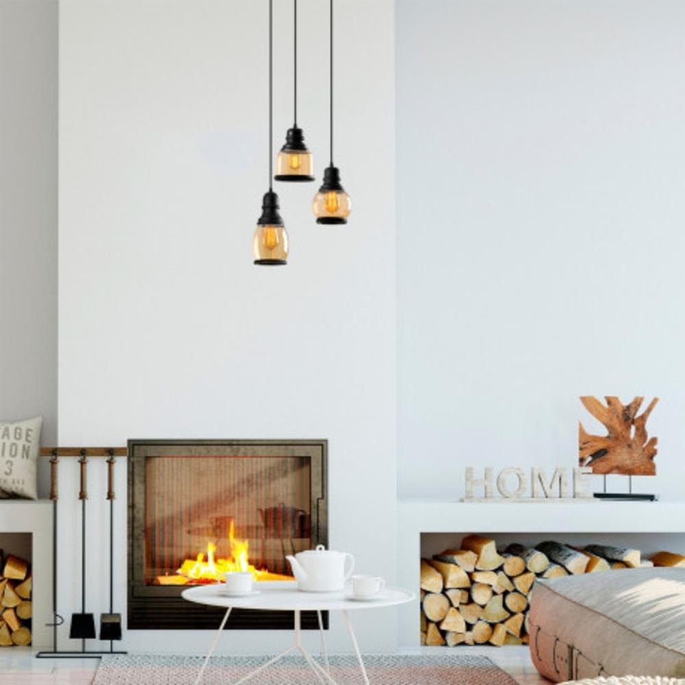 Hanglamp vintage zwart metaal gebrand glas 3 x E27 fitting - sfeerfoto
