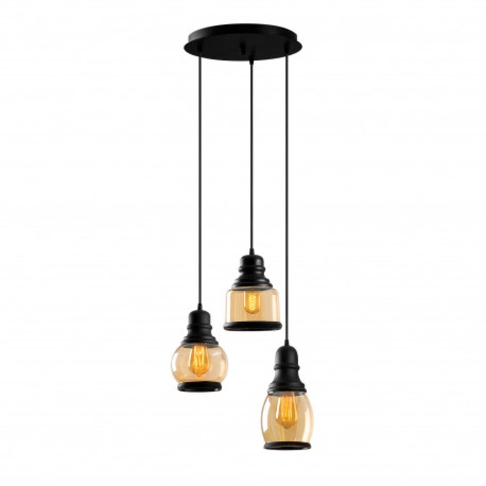 Hanglamp vintage zwart metaal gebrand glas 3 x E27 fitting - lampen aan vooraanzicht