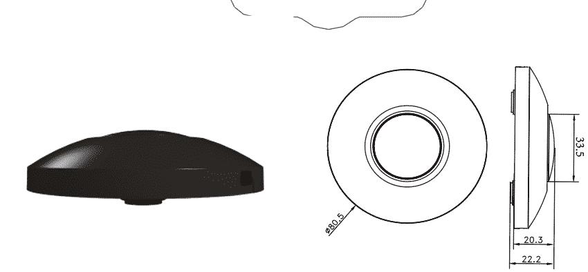 Vloerdimmer 0-50 watt zwart - afmeting