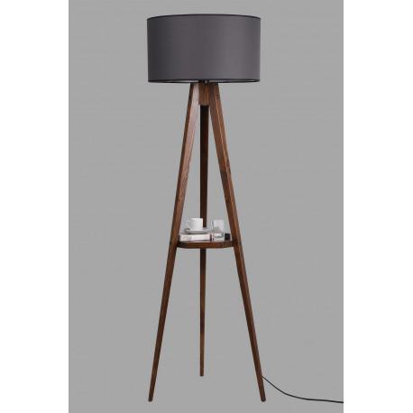 Houten vloerlamp met tafel zwart