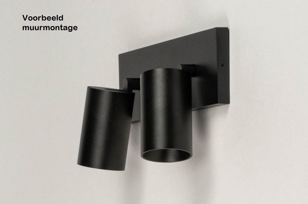 Opbouw plafond spot muur montage voorbeeld zwart