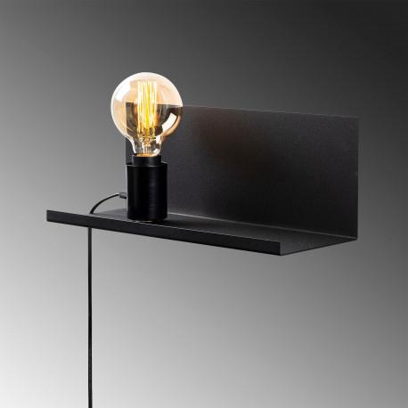 Moderne wandlamp zwart E27 fitting 40 centimeter - zijaanzicht