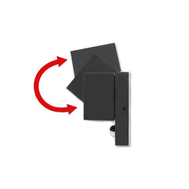 Wandlamp kantelbaar met sensor 1 x GU10 fitting zwart - Kantelbare hoek
