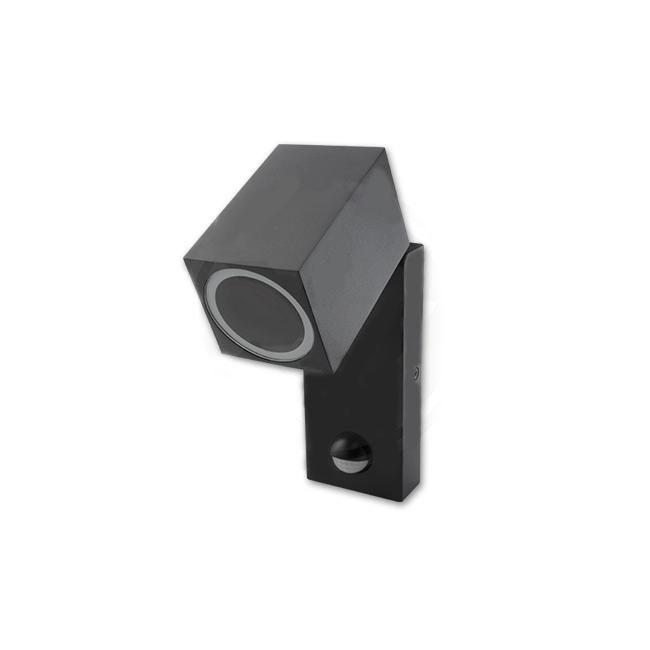 Wandlamp kantelbaar met sensor 1 x GU10 fitting zwart - zijaanzicht naar beneden