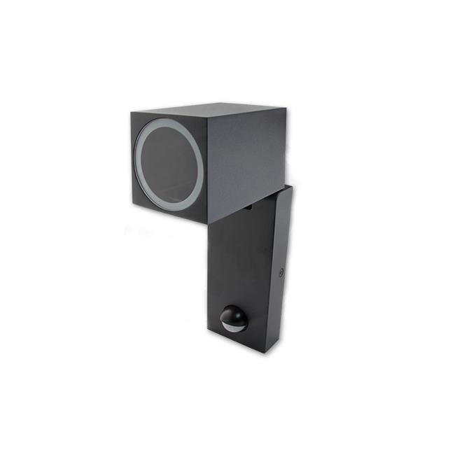 Wandlamp kantelbaar met sensor 1 x GU10 fitting zwart - zijaanzicht gekanteld