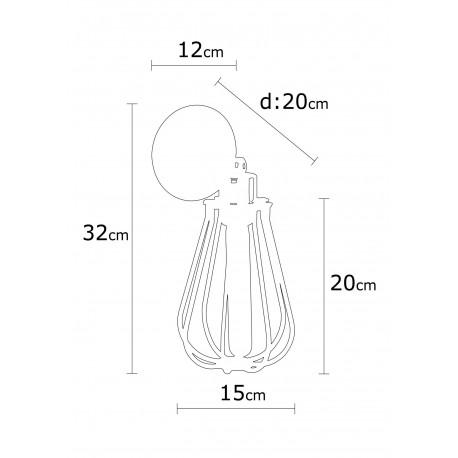 Korf model wandlamp zwart E27 - afmetingen
