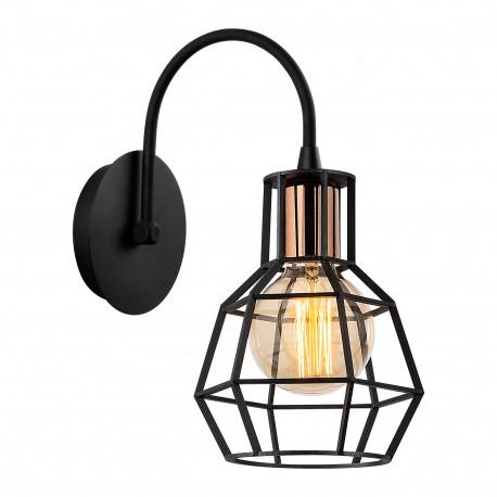 Industriële wandlamp met zwart metalen lampenkap en bronze fitting