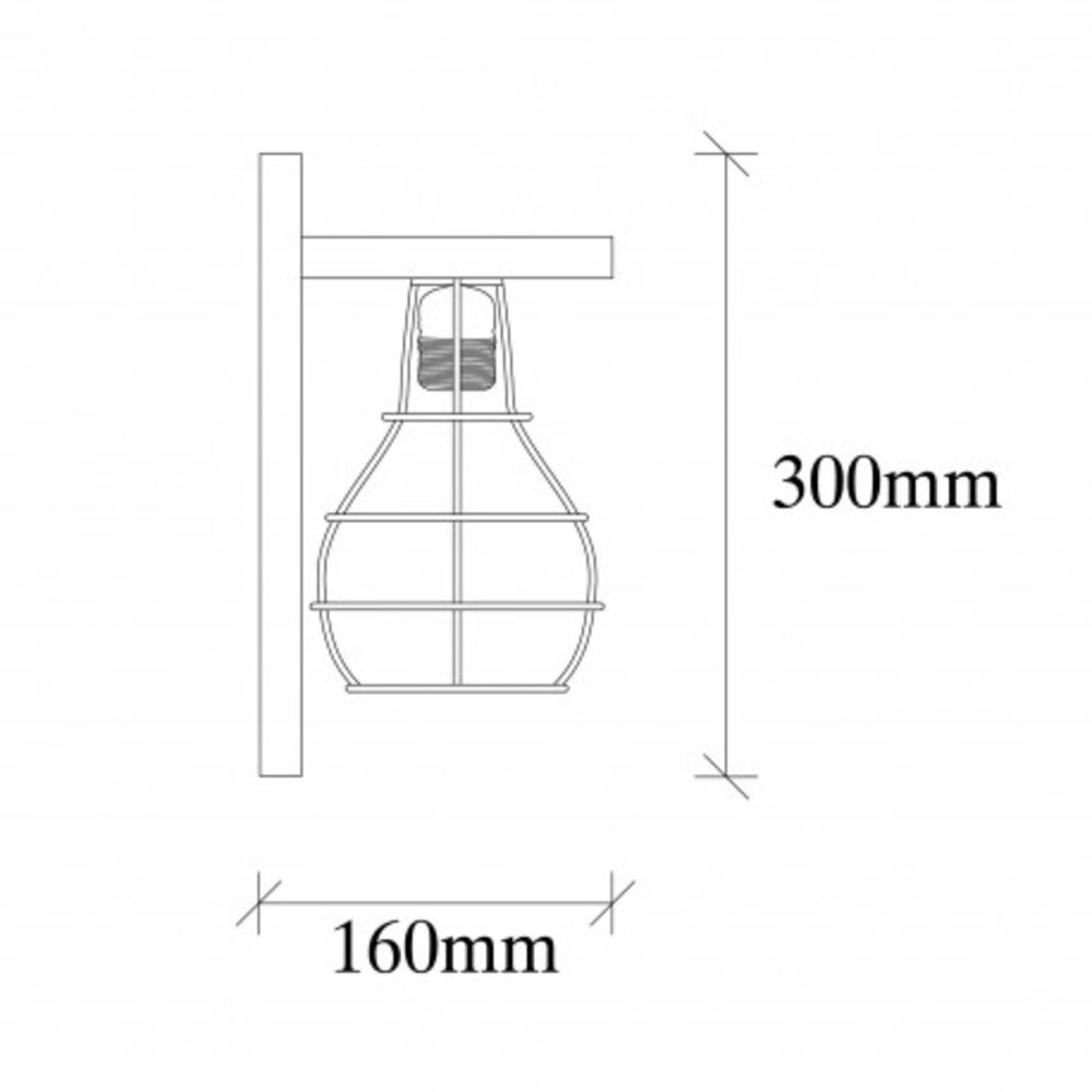 Moderne wandlamp zwar hout - E27 fitting - Afmetingen