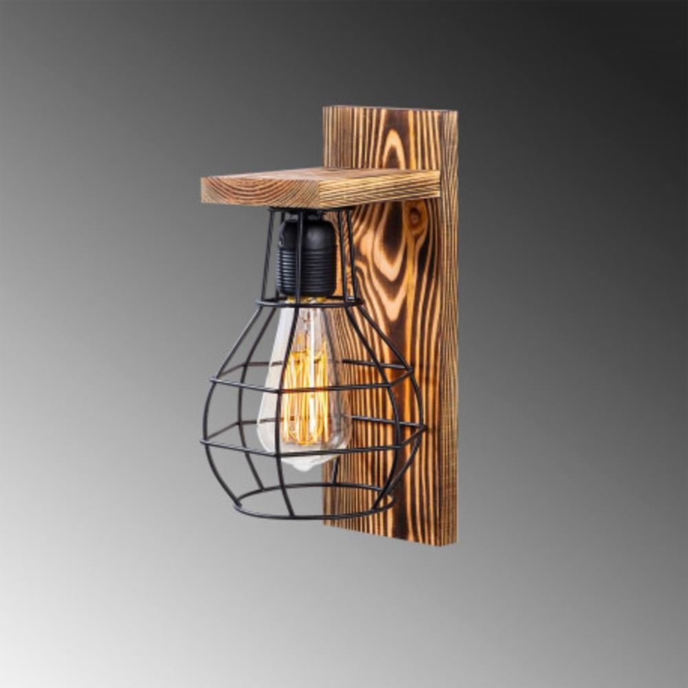 Moderne wandlamp zwar hout - E27 fitting - Grijze achtergrond