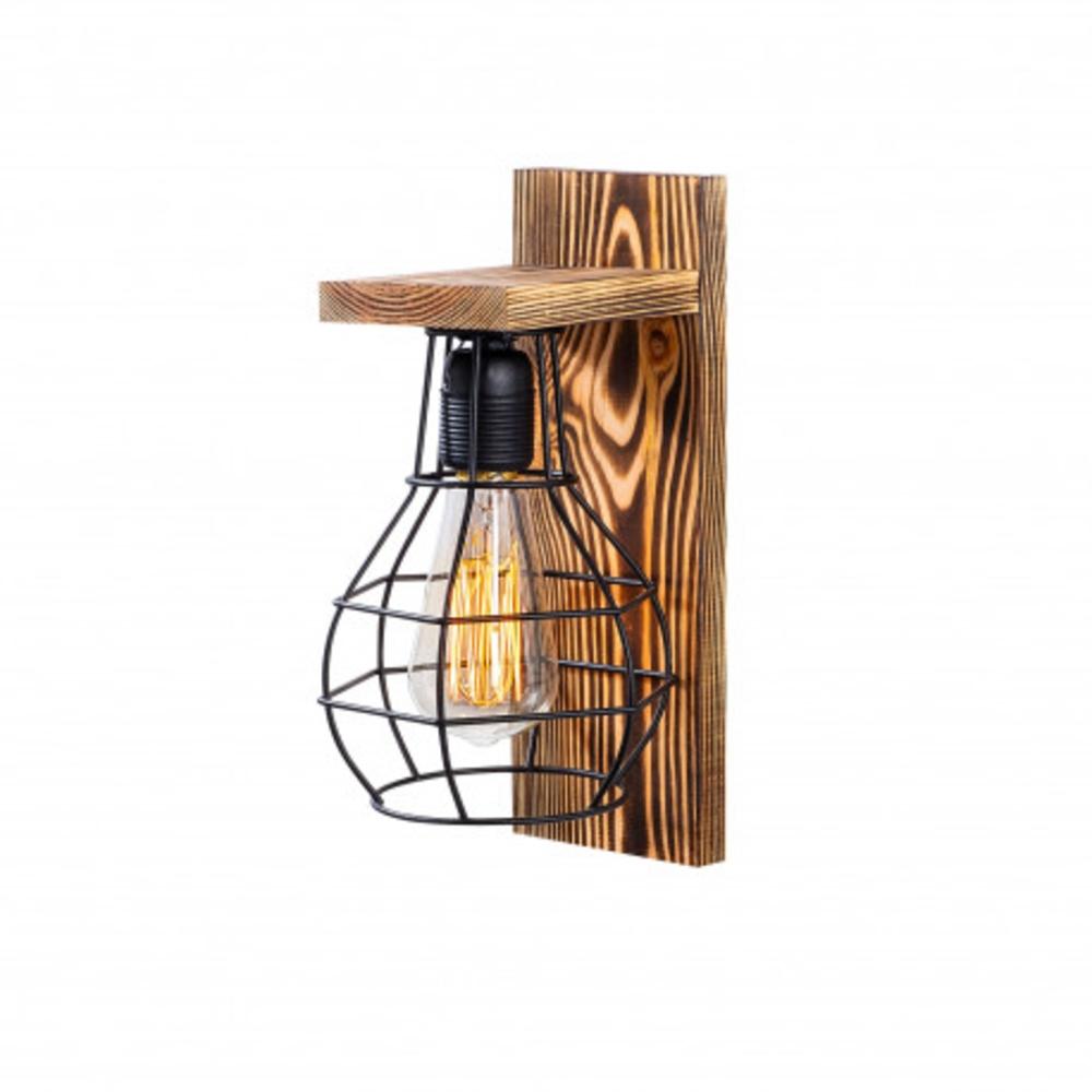 Moderne wandlamp zwar hout - E27 fitting - Zijaanzicht lamp aan