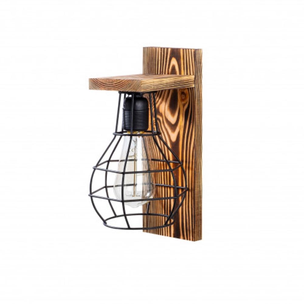 Moderne wandlamp zwar hout - E27 fitting - zijaanzicht lamp uit