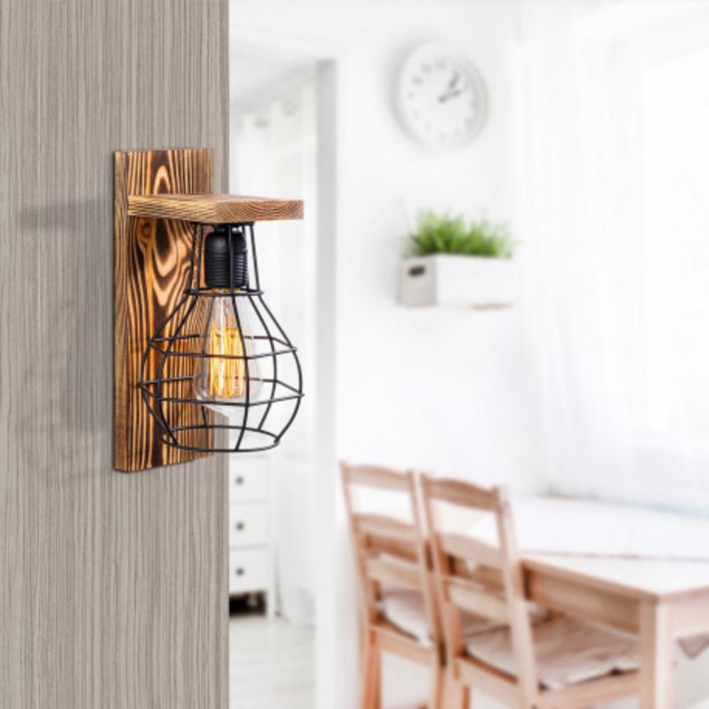 Moderne wandlamp zwar hout - E27 fitting - Sfeerfoto