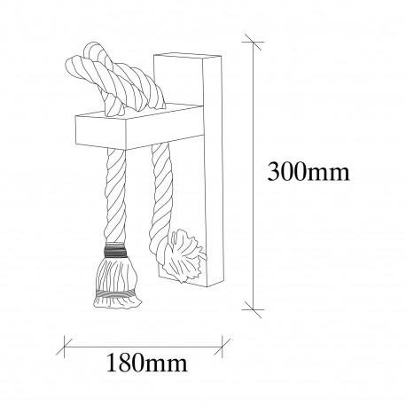 landelijke wandlamp hout en touw 1 x E27 fitting - afmetingen