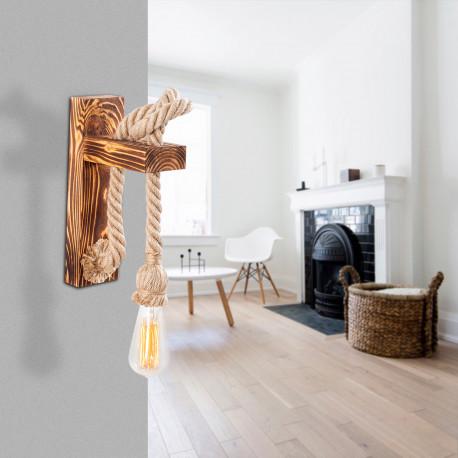 landelijke wandlamp hout en touw 1 x E27 fitting - sfeerfoto