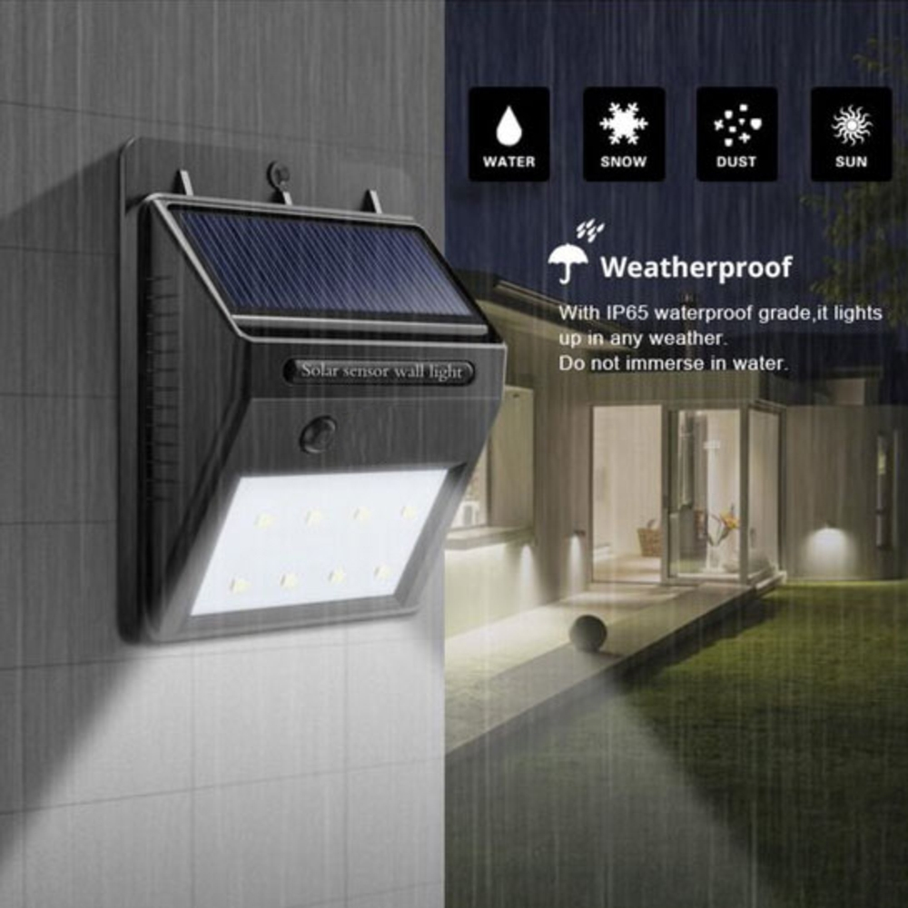 Buiten wandlamp Solar met sensor 3 Watt 6000K - daglicht wit - sensor afstand