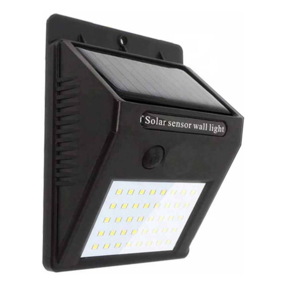 Wandlamp solar met schemersensor zwart 3 Watt - zijaanzicht lamp