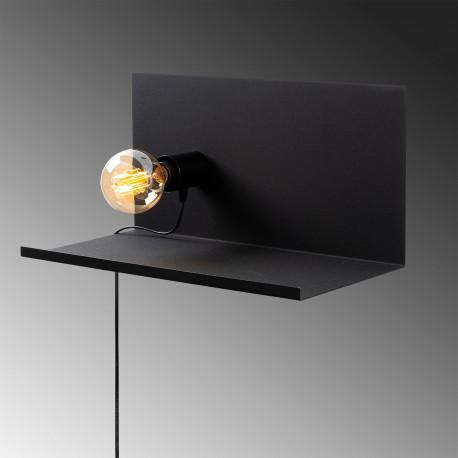 Moderne wandlamp zwart E27 fitting - zijaanzicht