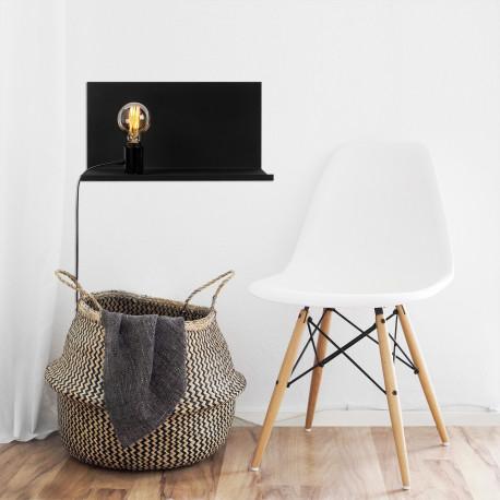 Moderne wandlamp zwart E27 fitting - sfeerfoto