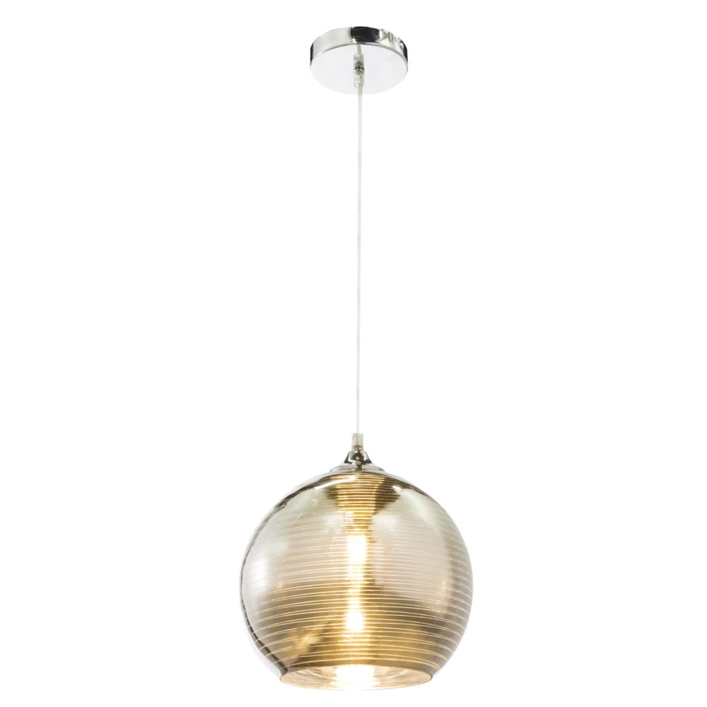 Glazen hanglamp LED modern chroom - E27 fitting - 25 cm - vooraanzicht lamp