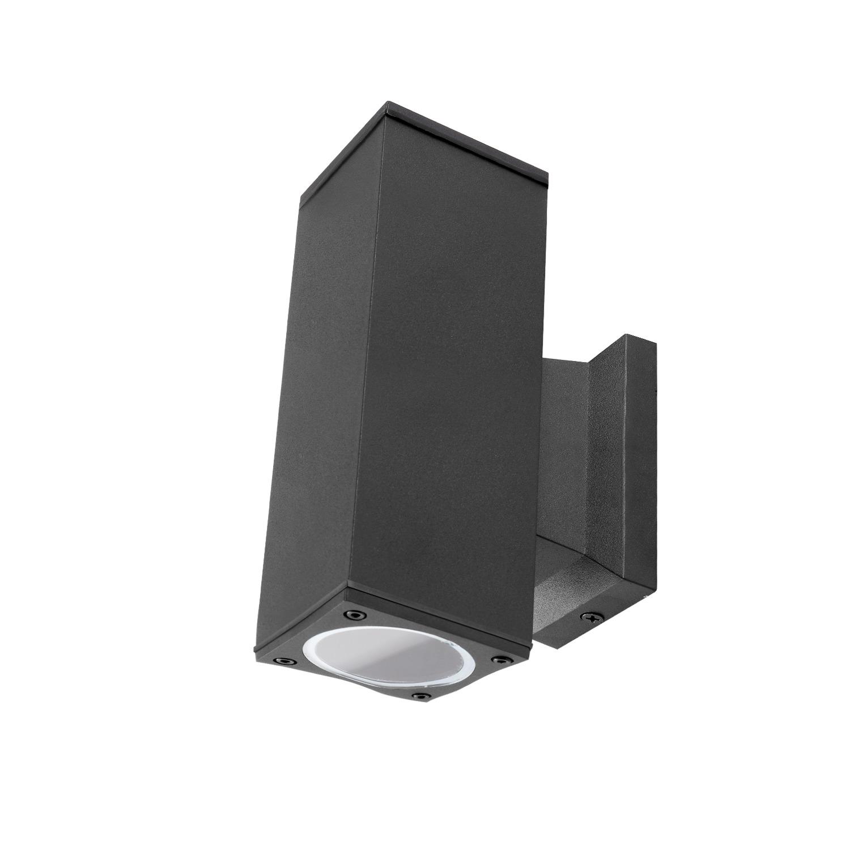LED Wandlamp - vierkant - up & down light - GU10 fitting - dimbaar - IP65 waterproof - zwart