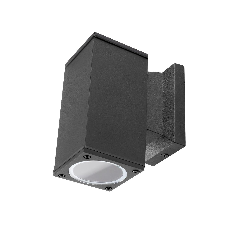 LED Wandlamp met GU10 fitting - vierkant - zwart - ip65 - buiten - dimbaar - voorkant