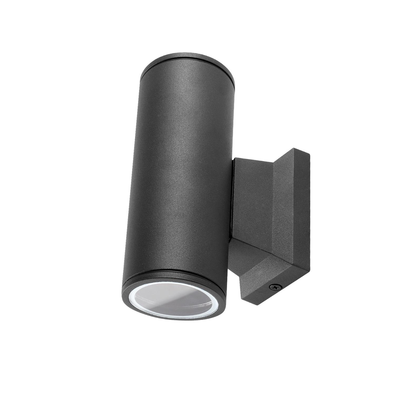 LED Wandlamp - rond - up & down light - GU10 fitting - dimbaar - IP65 waterproof - zwart - voorkant