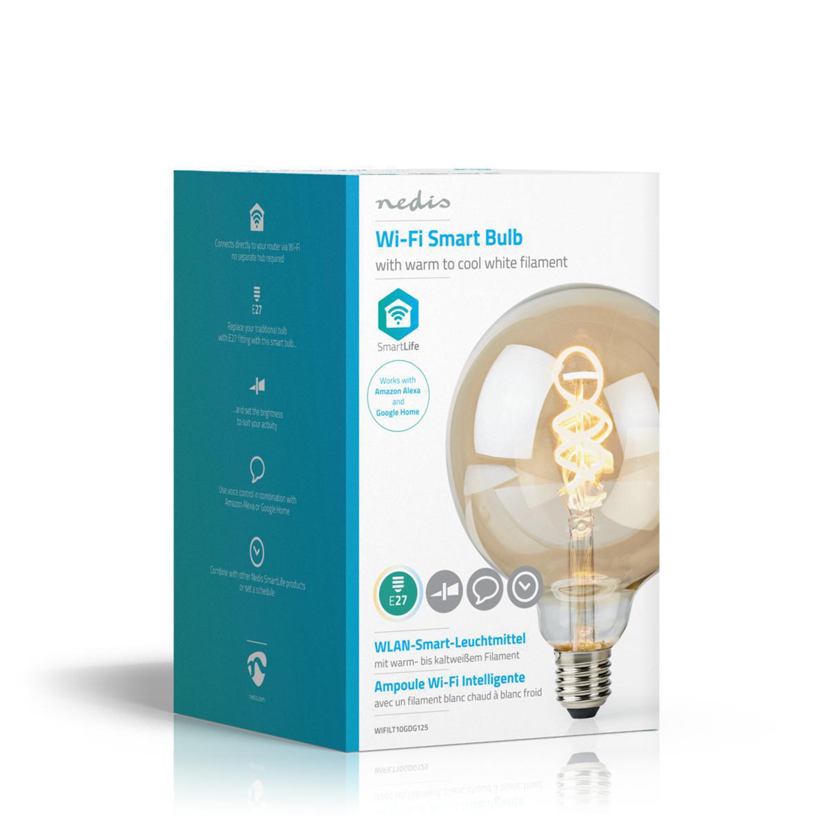 Globe spiraal lamp G125 - 125mm - LED slimme lamp - Amber - dimbaar - app besturing - filament - zijkant doos