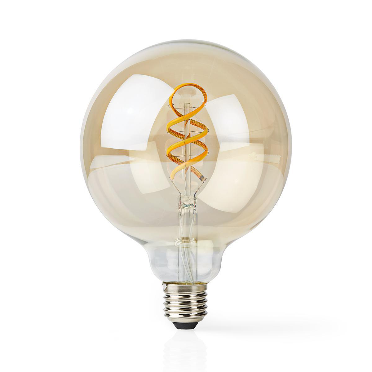 Globe spiraal lamp G125 - 125mm - LED slimme lamp - Amber - dimbaar - app besturing - filament - voorkant