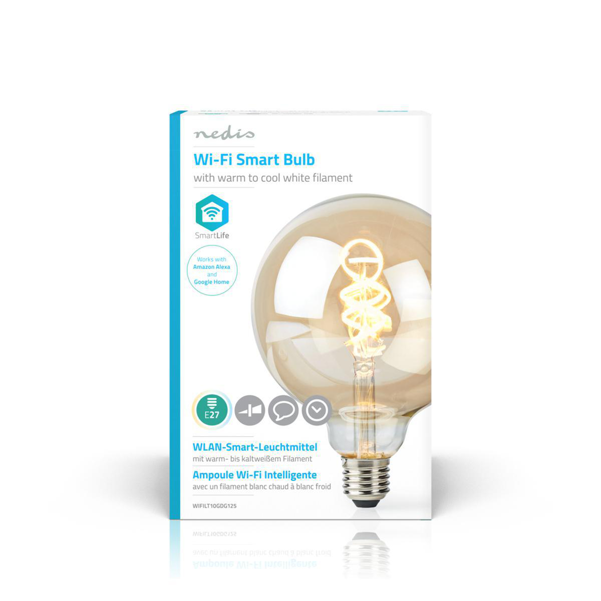 Globe spiraal lamp G125 - 125mm - LED slimme lamp - Amber - dimbaar - app besturing - filament - voorkant doos