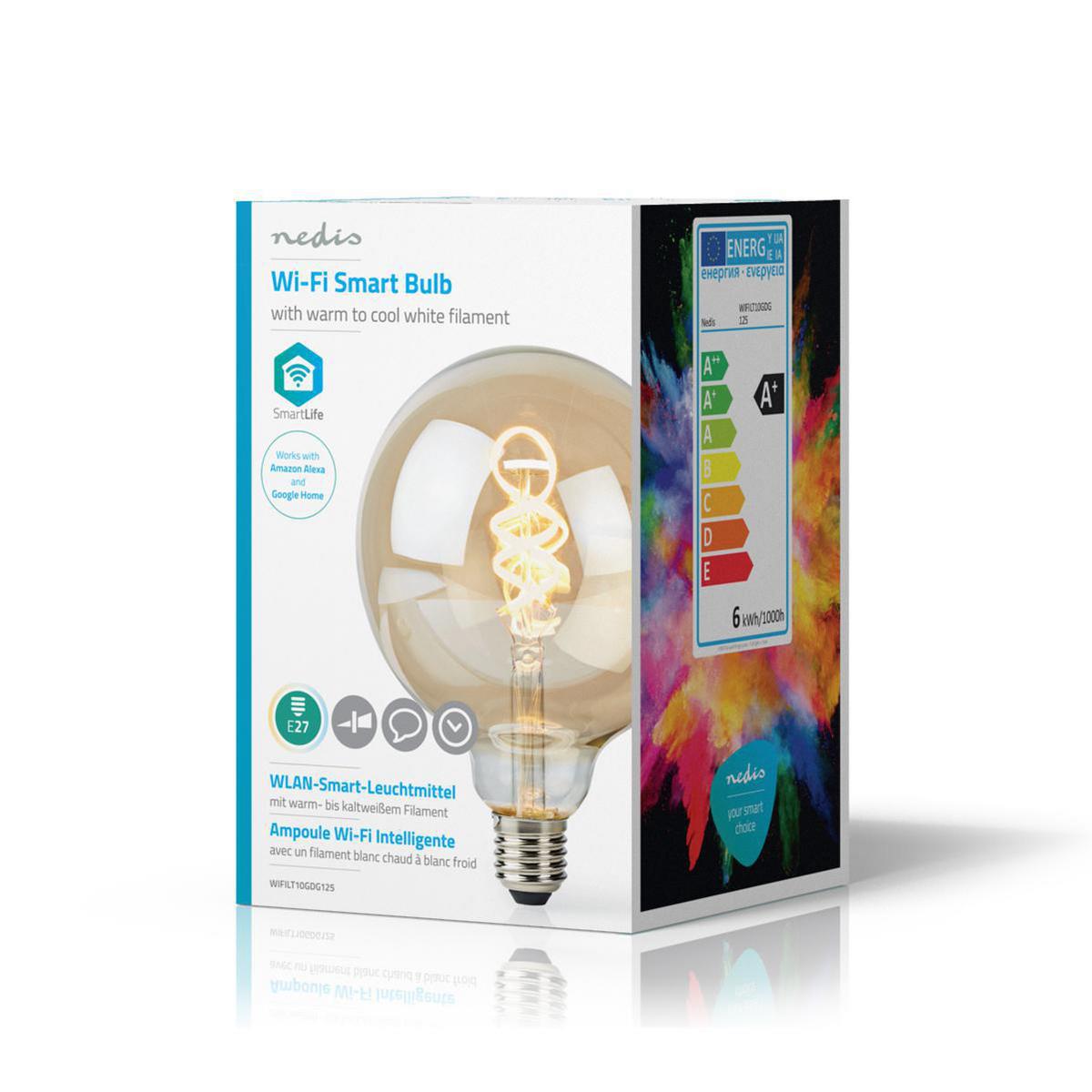 Globe spiraal lamp G125 - 125mm - LED slimme lamp - Amber - dimbaar - app besturing - filament - verpakking