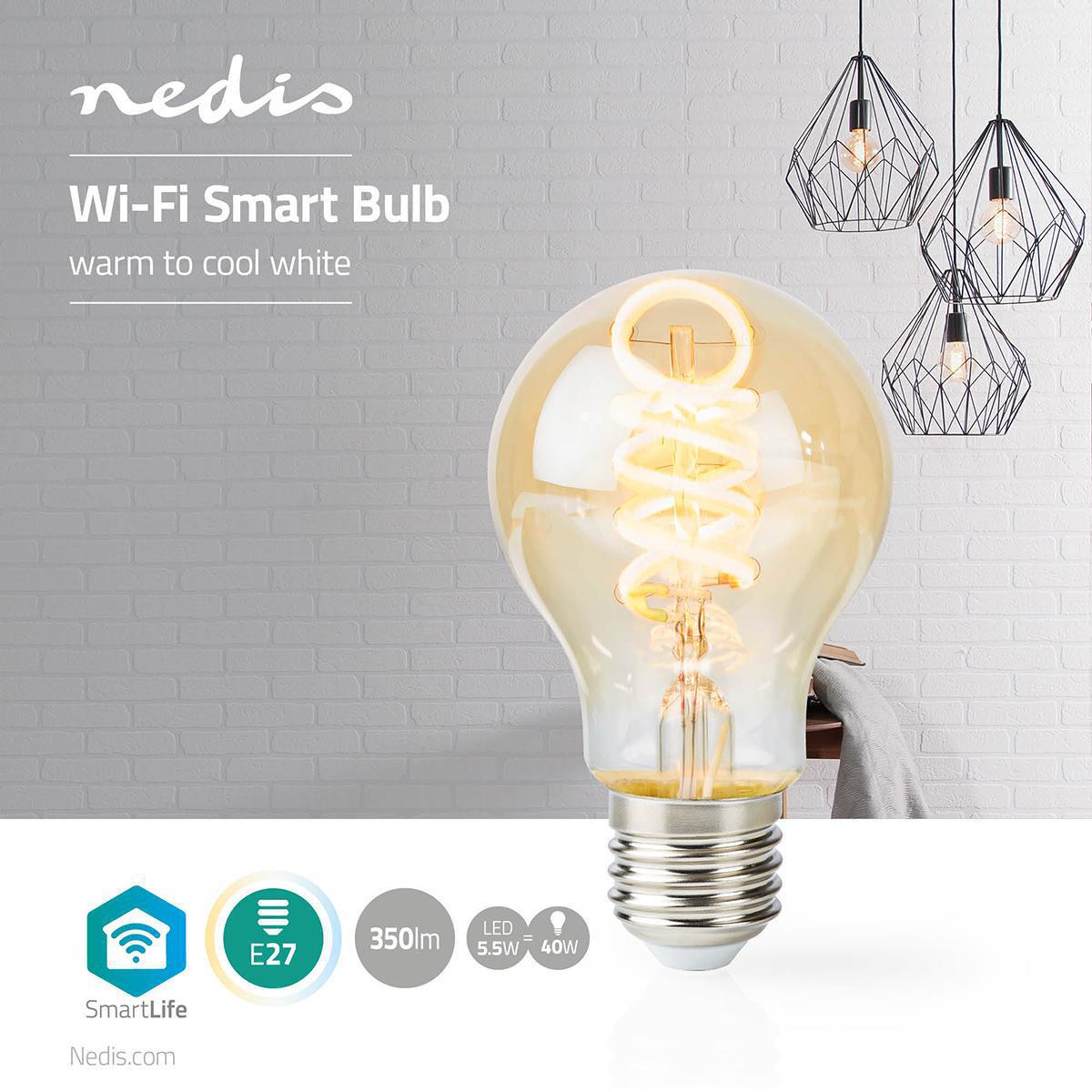 Slimme WiFi LED lamp - in kleur verstelbaar - 1800K warm wit - 6500K daglicht E27 spiraal lamp - dimbaar - app besturing - 5,5W - sfeerfoto
