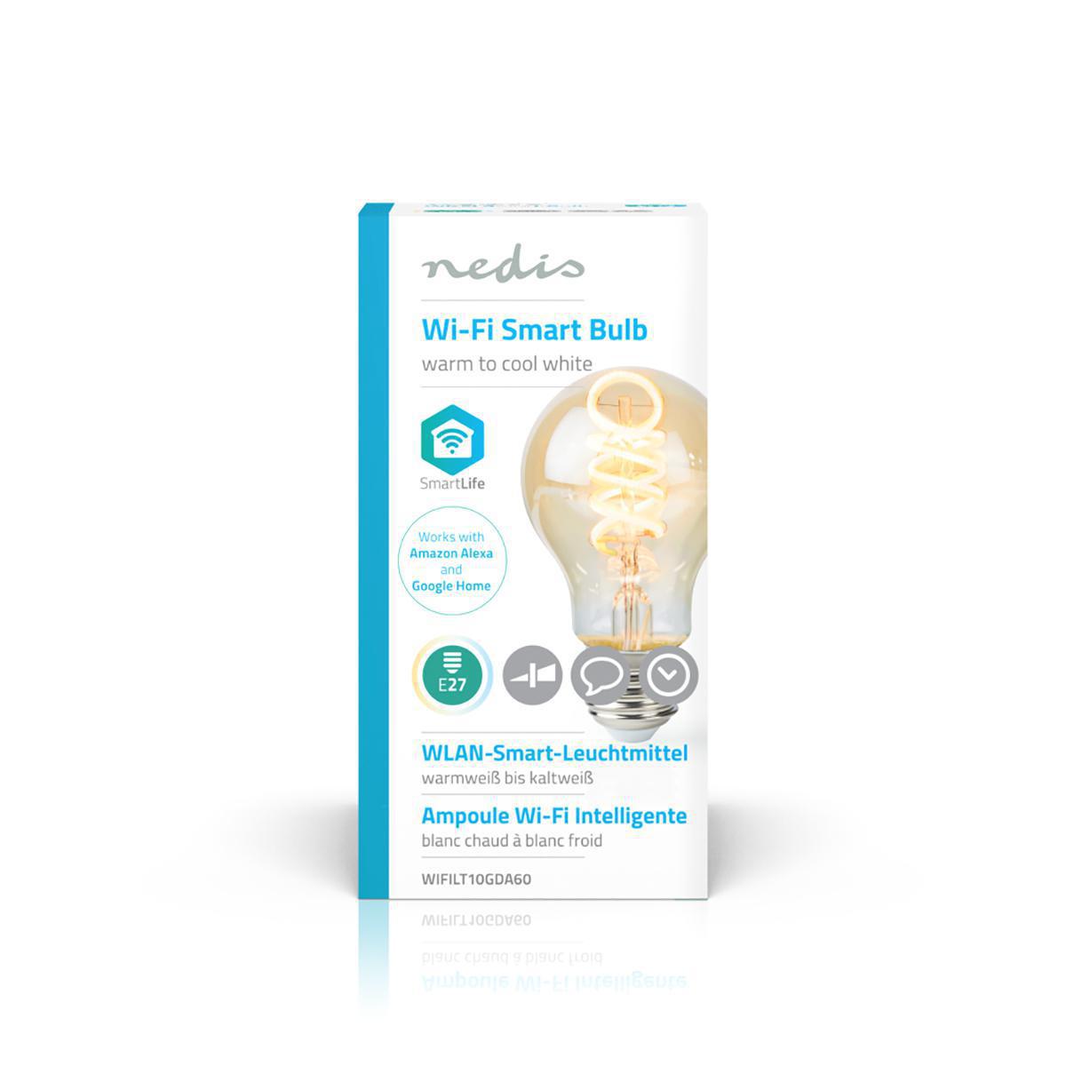 Slimme WiFi LED lamp - in kleur verstelbaar - 1800K warm wit - 6500K daglicht E27 spiraal lamp - dimbaar - app besturing - 5,5W - verpakking