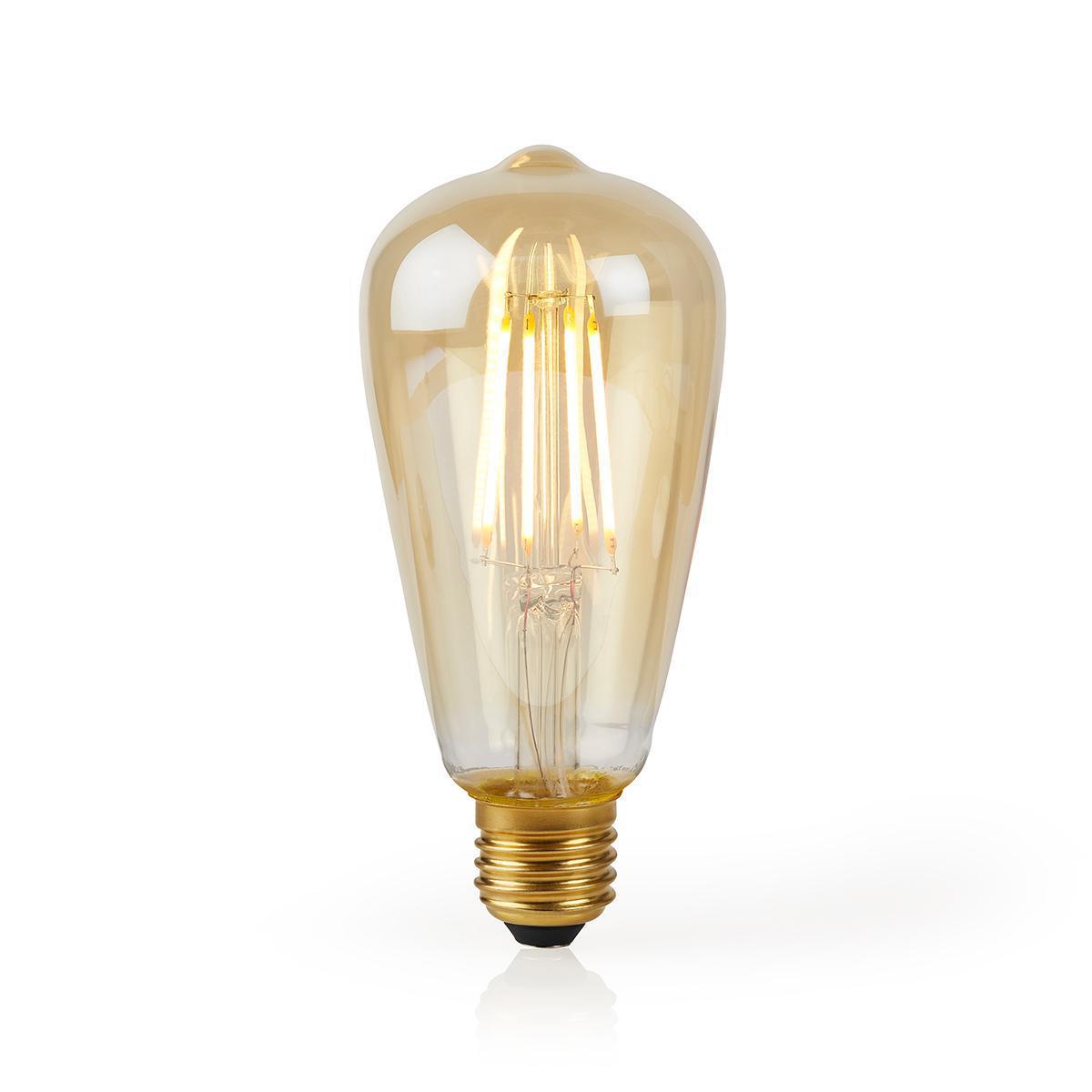 Slimme Wifi Edison filament lamp E27 - 5 watt- warm wit - lamp aan