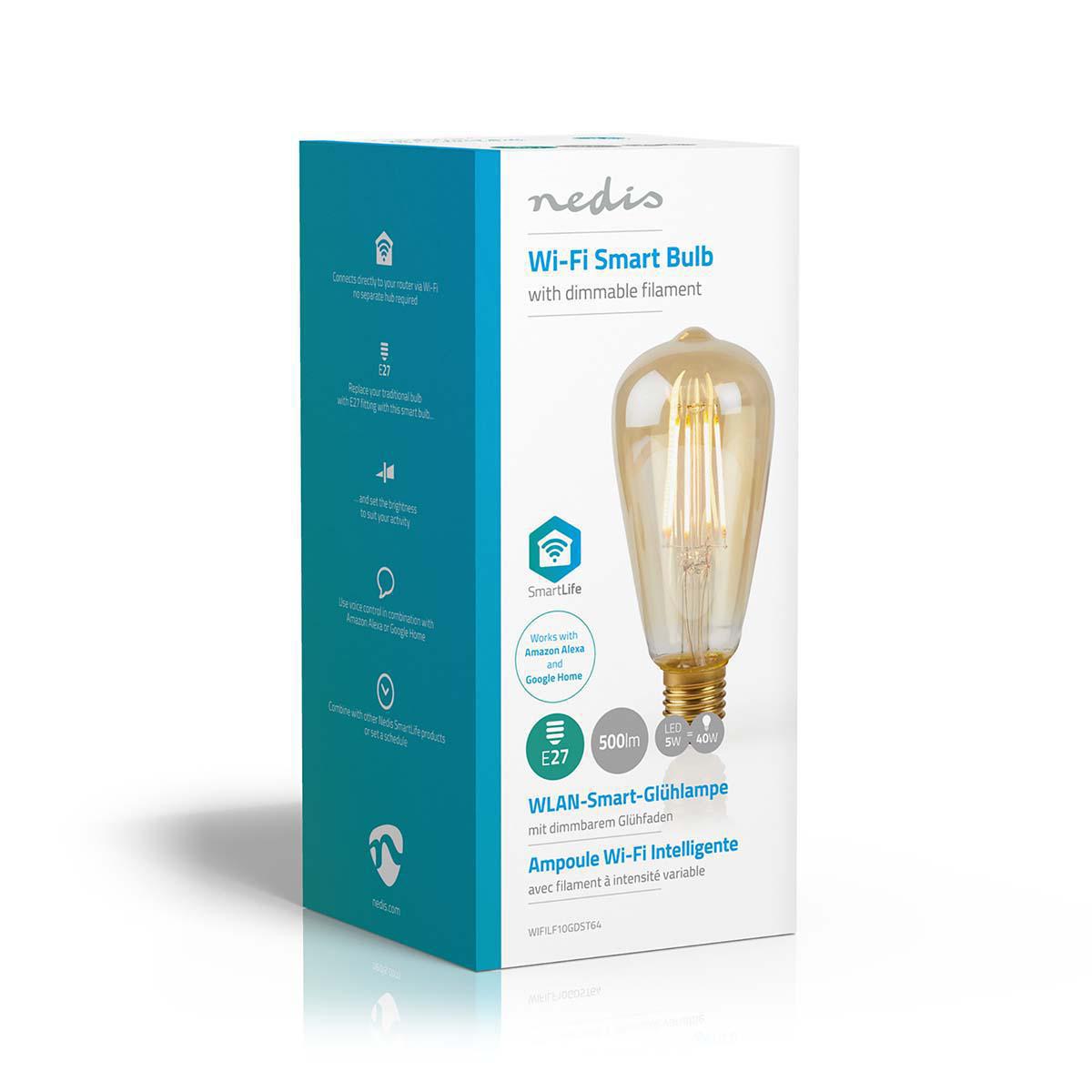 Slimme Wifi Edison filament lamp E27 - 5 watt- warm wit - zijkant doos