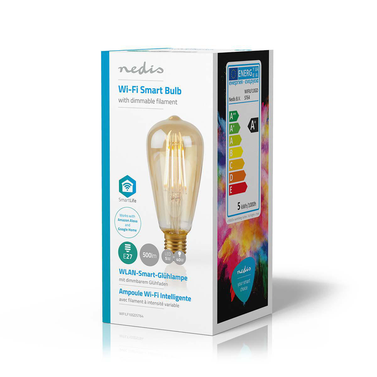 Slimme Wifi Edison filament lamp E27 - 5 watt- warm wit - zijkant doos