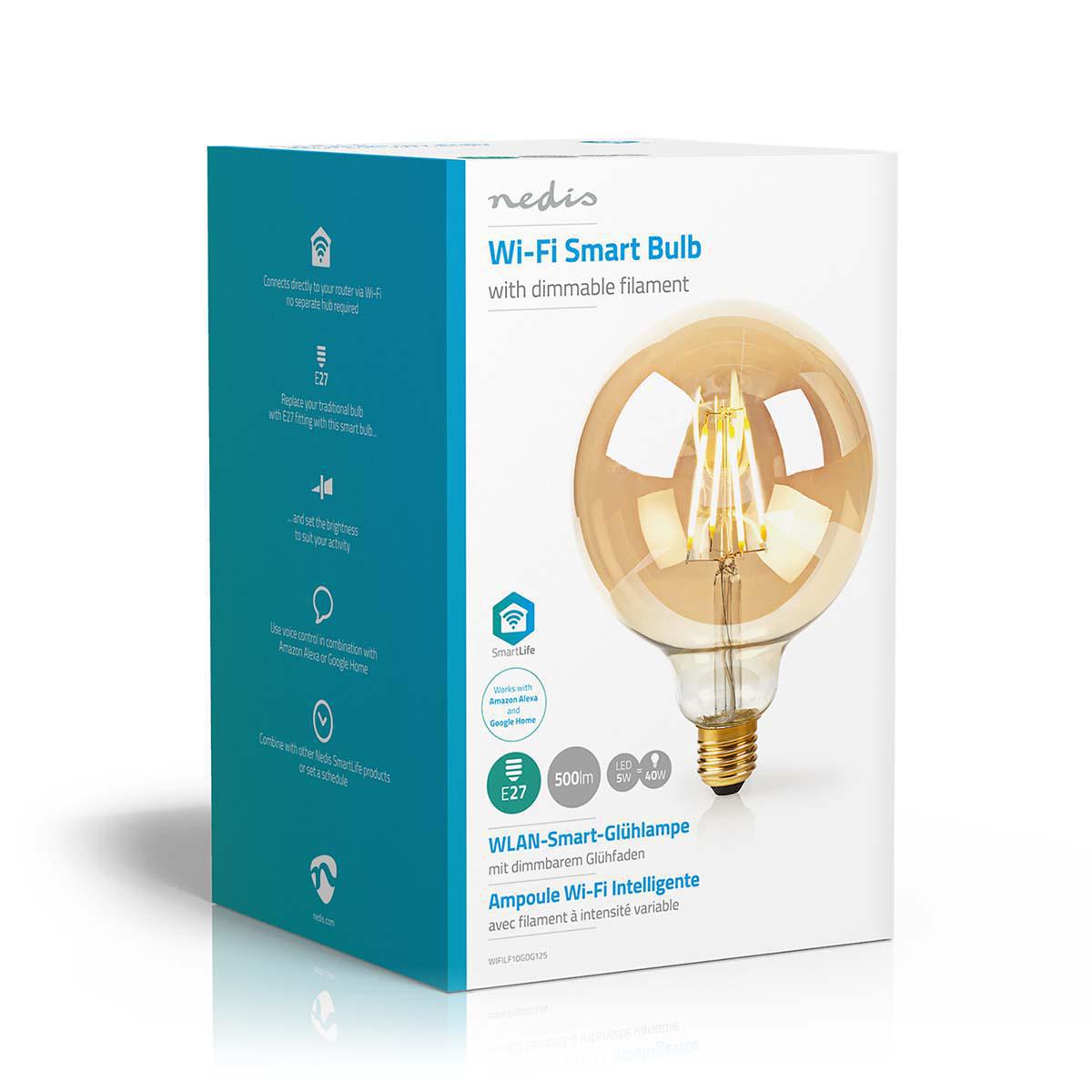 Slimme globe G125 filament lamp Wifi - E27 - 5 watt - warm wit - zijkant doos