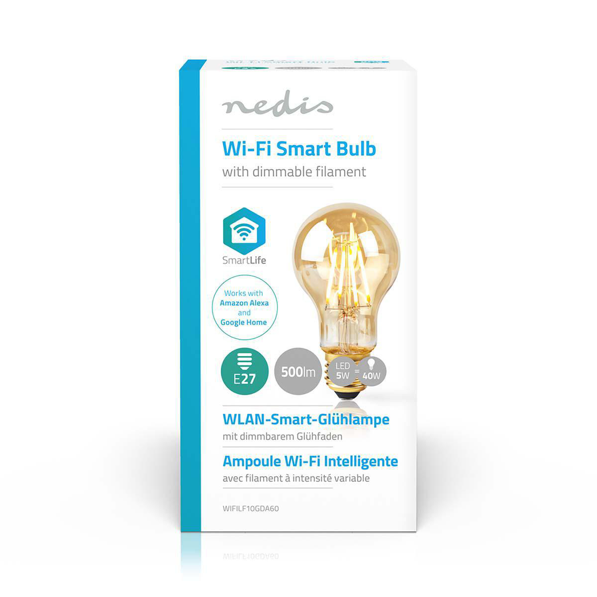 Slimme filament Wifi lamp E27 - 2200K - 5 watt - voorkant doos